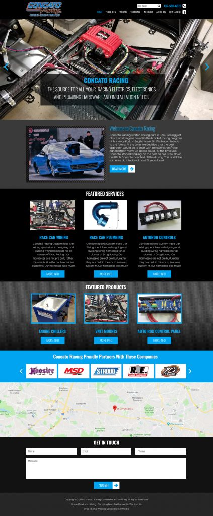 Concatoracing.com website mockup electrical services