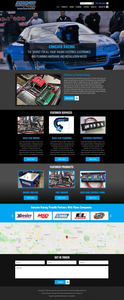 Concatoracing.com website mockup race car