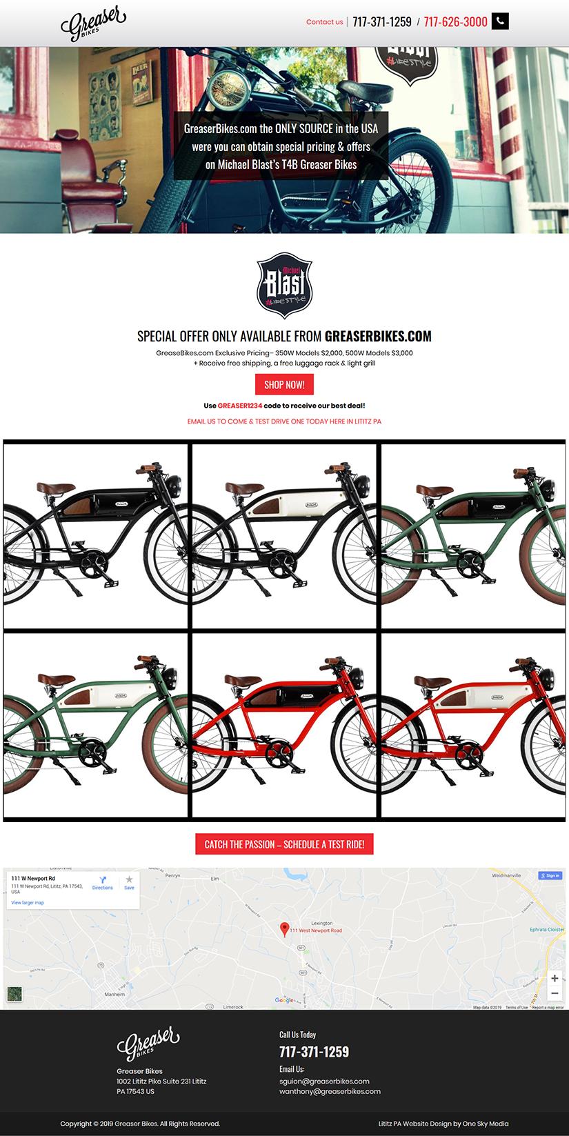 Greaser Bikes Temporary Website Design