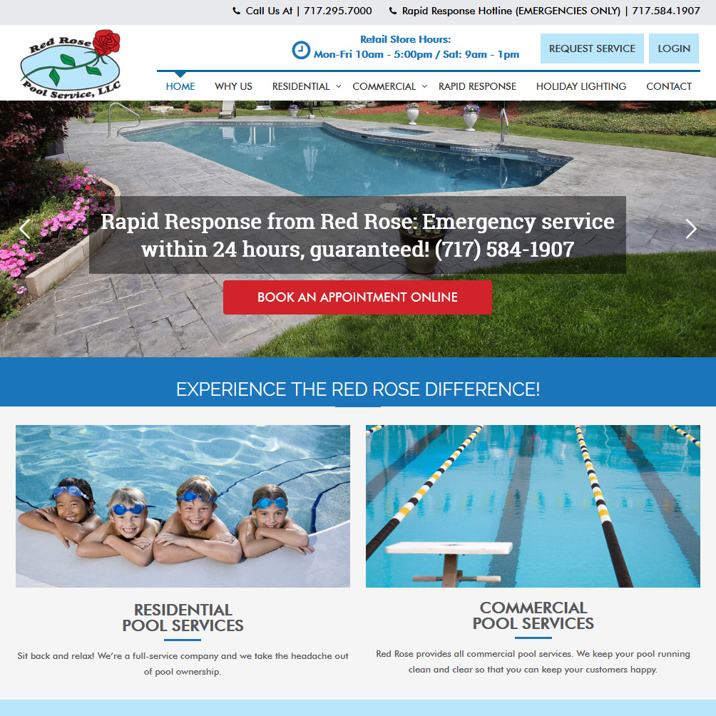Red Rose Pool Services swimming pool website design