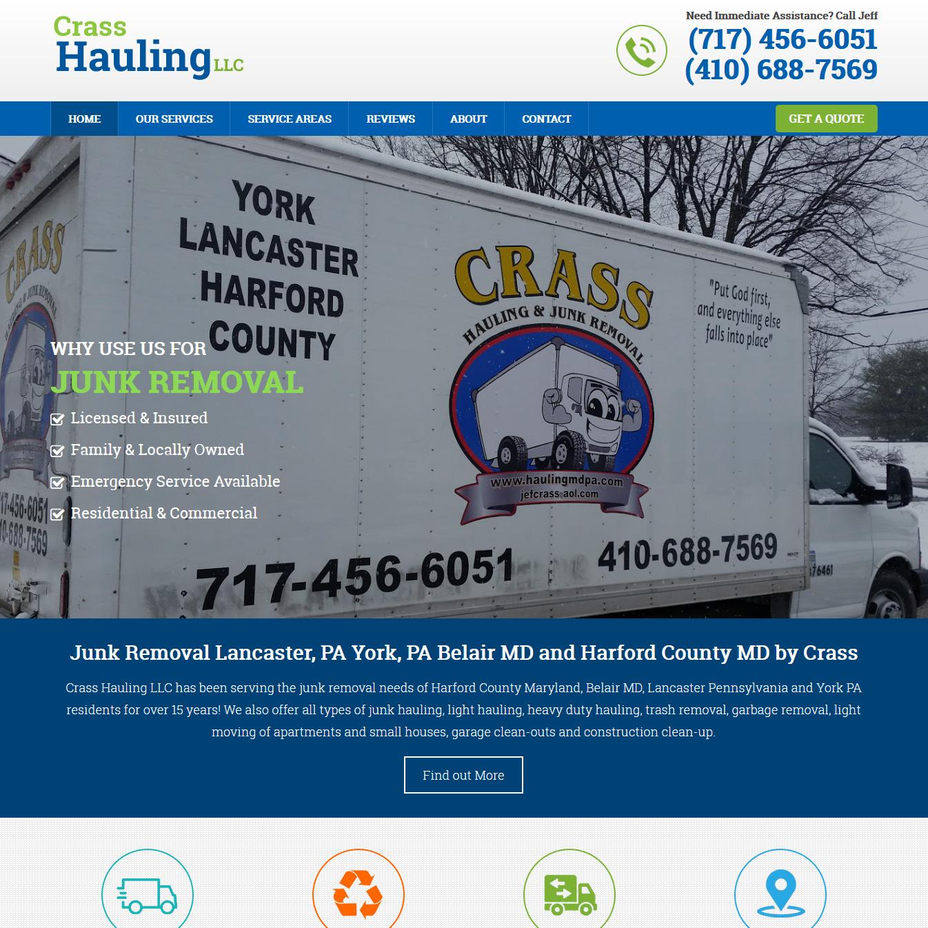 Crass Hauling moving website design