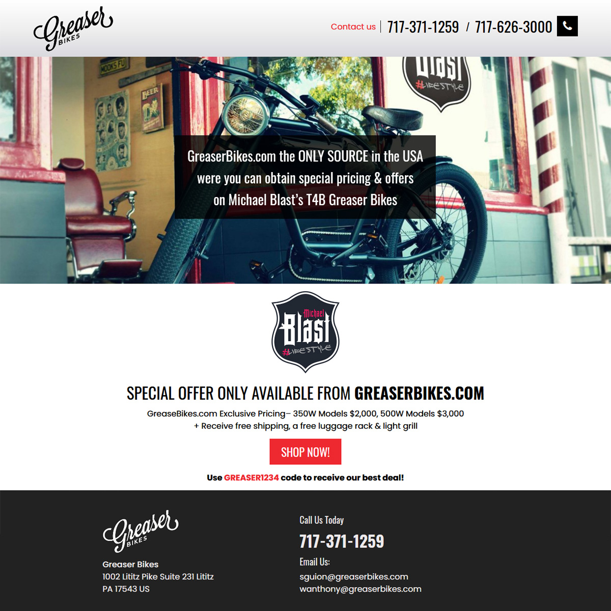 Greaser Bikes - electric bicycle website design