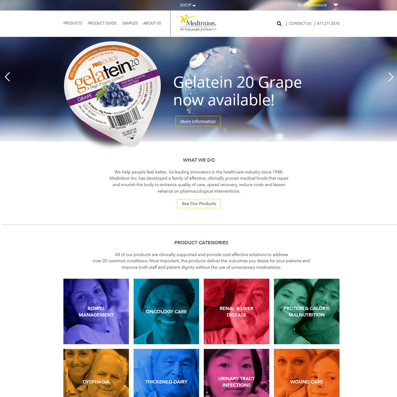 Medtrition medical foods website design
