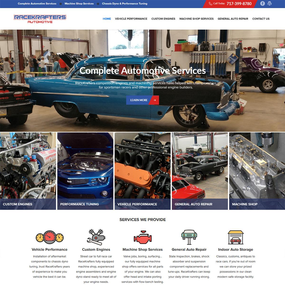 Race Krafters Automotive machine shop website design