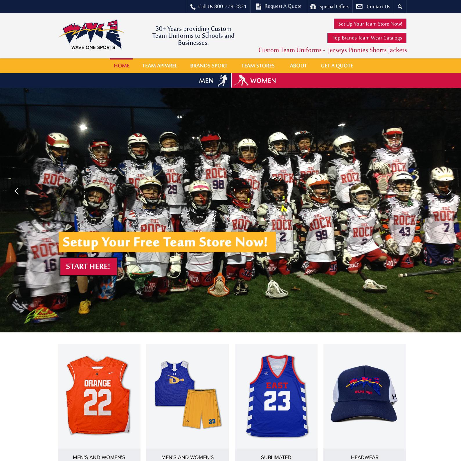 Wave One Sports custom sports team uniform website design