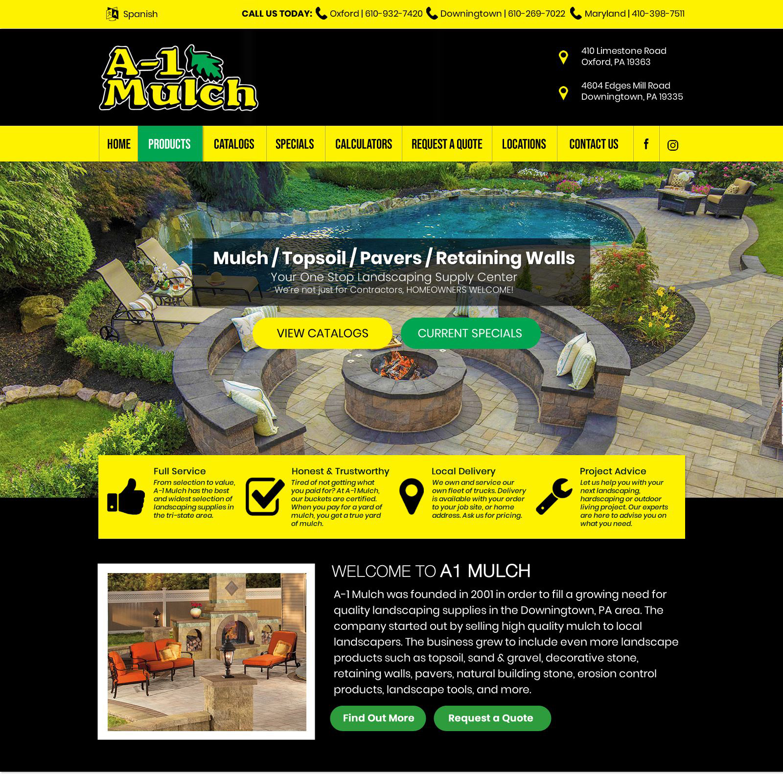 A-1 Mulch landscaping supply website design