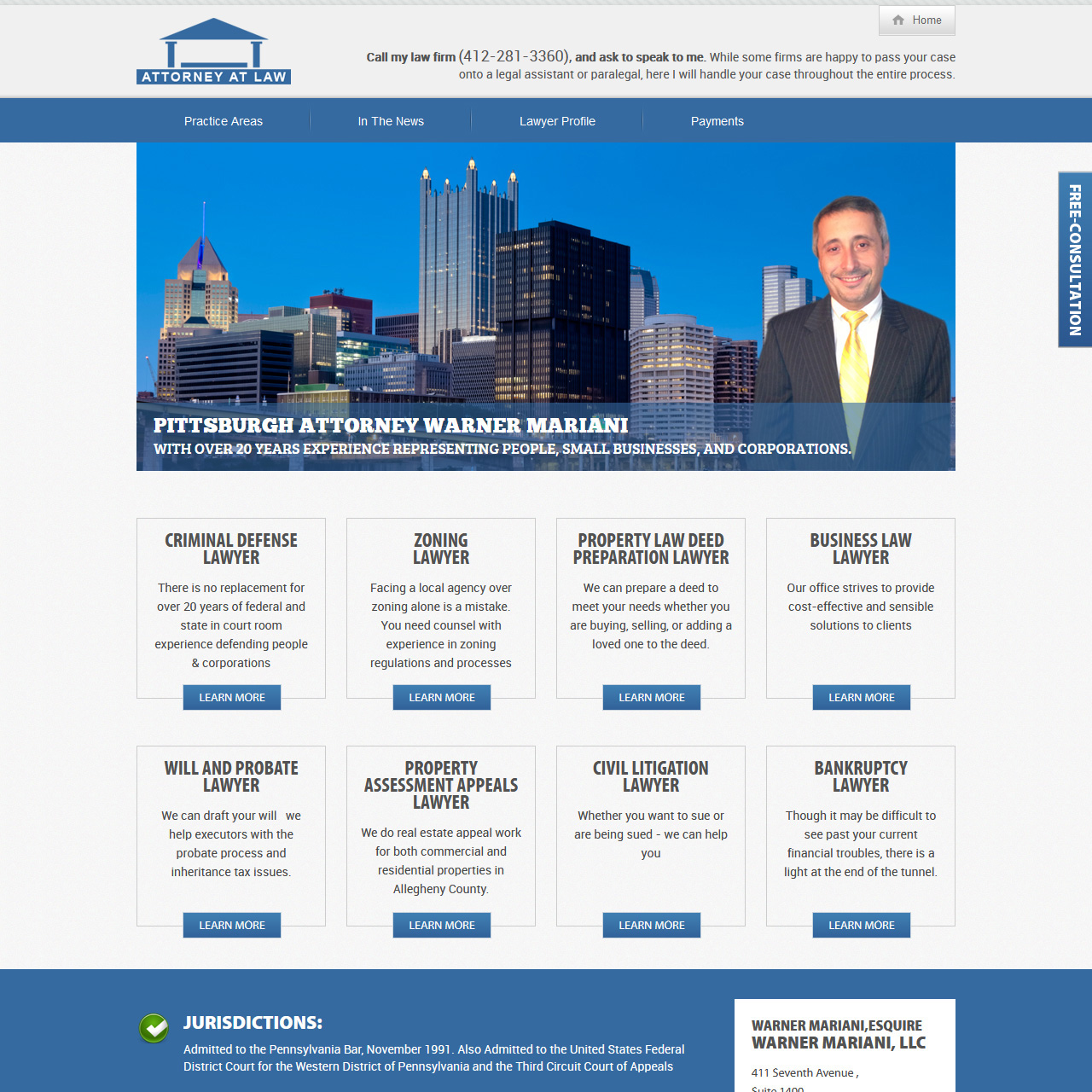 AskThePALawyer.com attorney website design