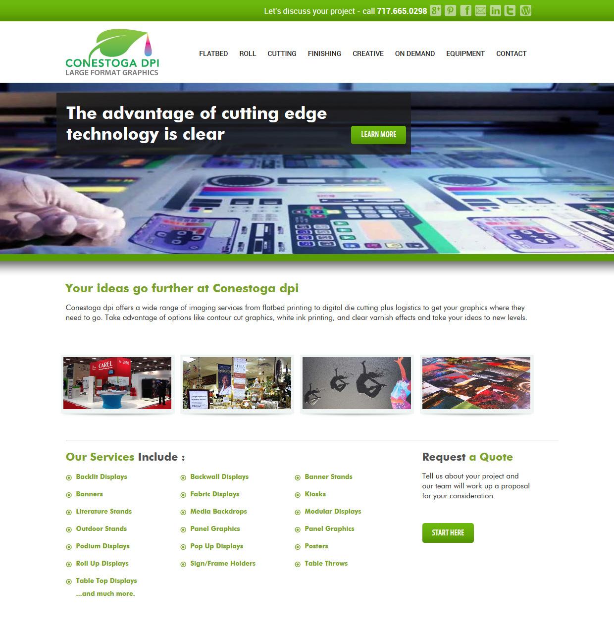 Conestoga DPI large format printer website design