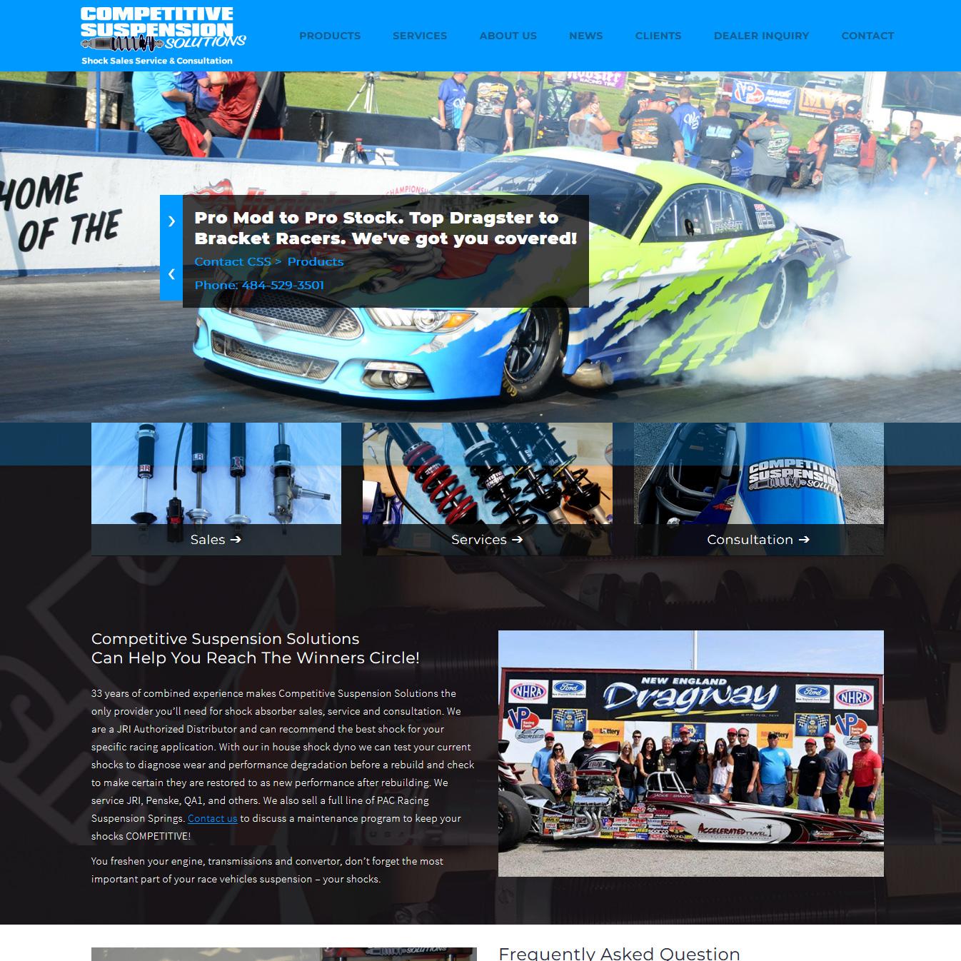 Competitive Suspension Solutions drag racing shock absorber website design