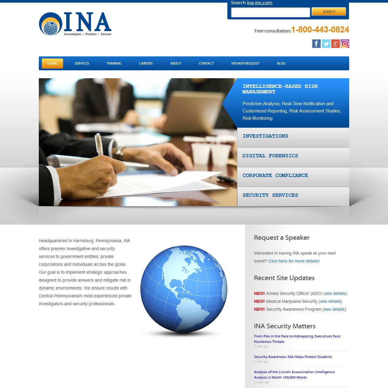 INA INC Private Investigators - private investigators website design