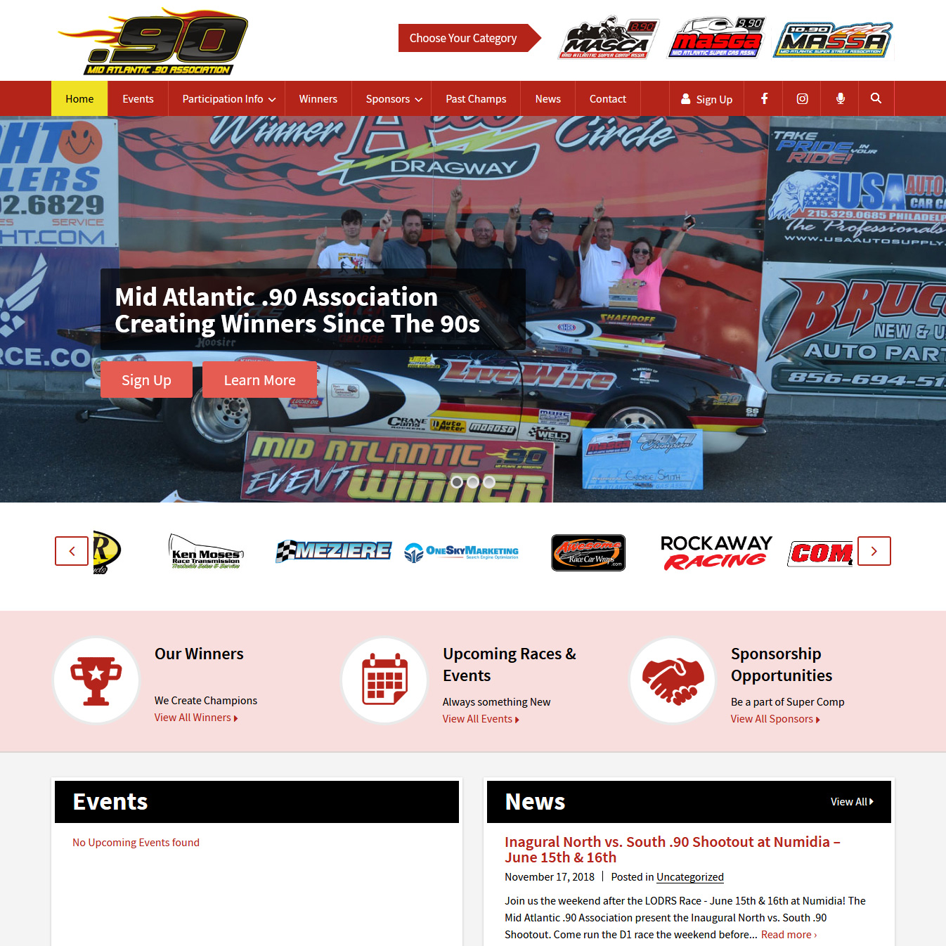 Mid Atlantic .90 drag racing association website design