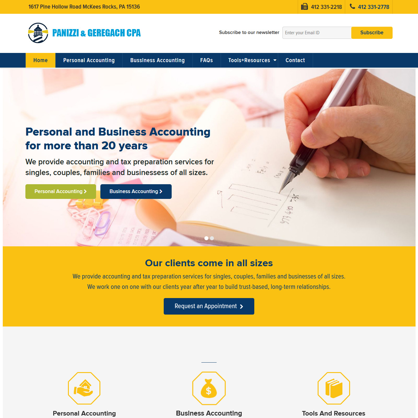 Panizzi and Geregach CPA accountants website design