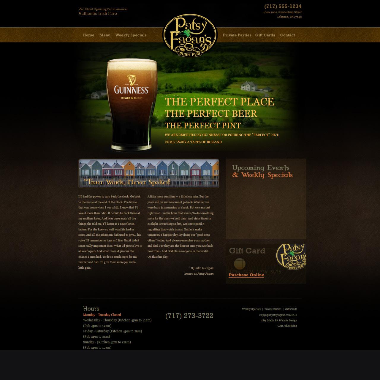 Patsy Fagan Irish Pub website design
