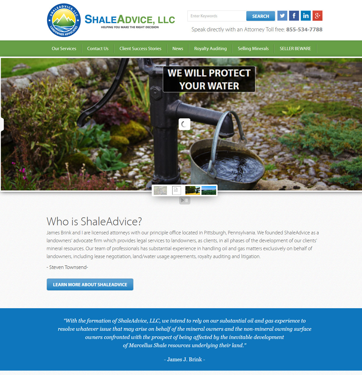 Shale Advice, LLC Lawyers website design