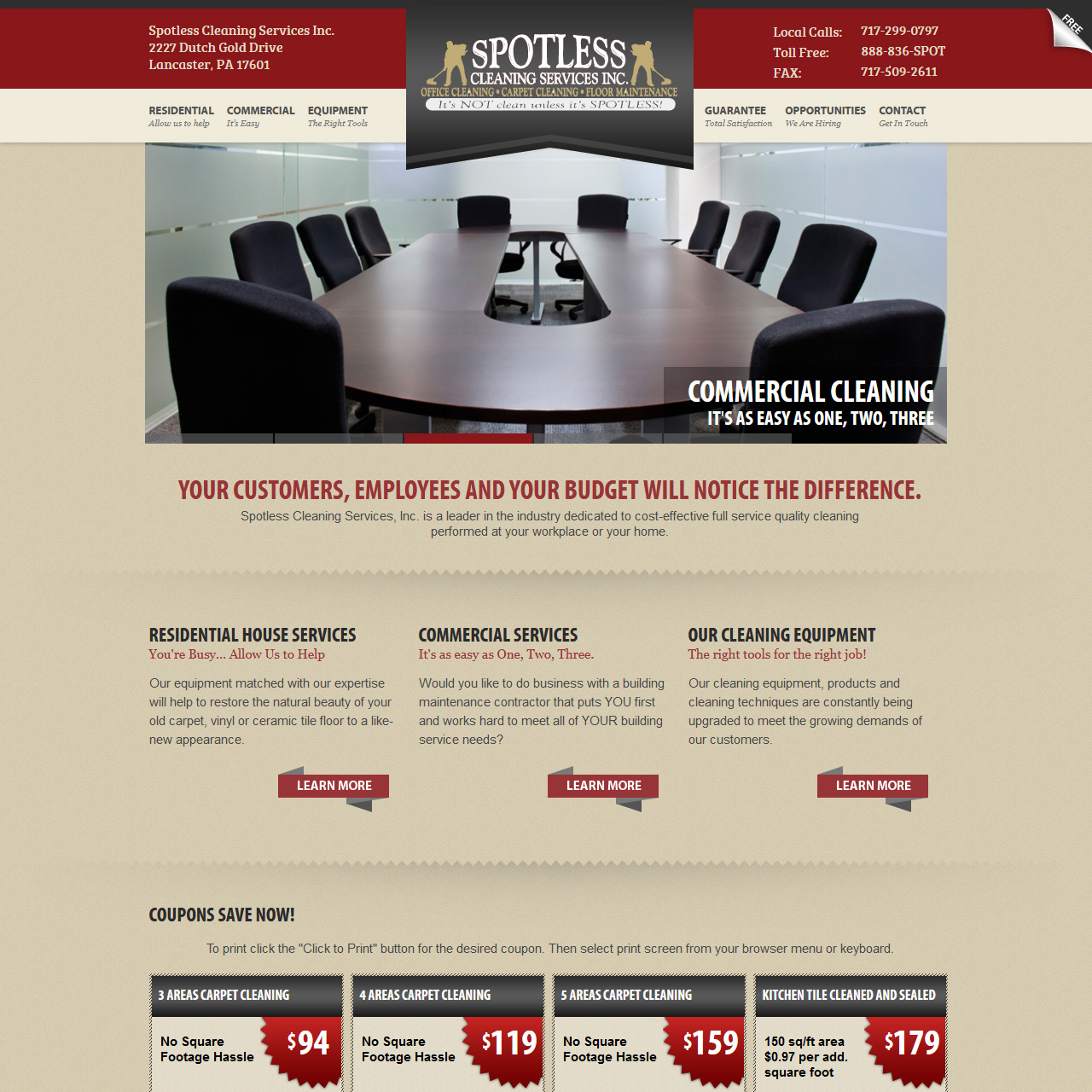 Spotless Cleaning Services Inc. - Cleaning service website design