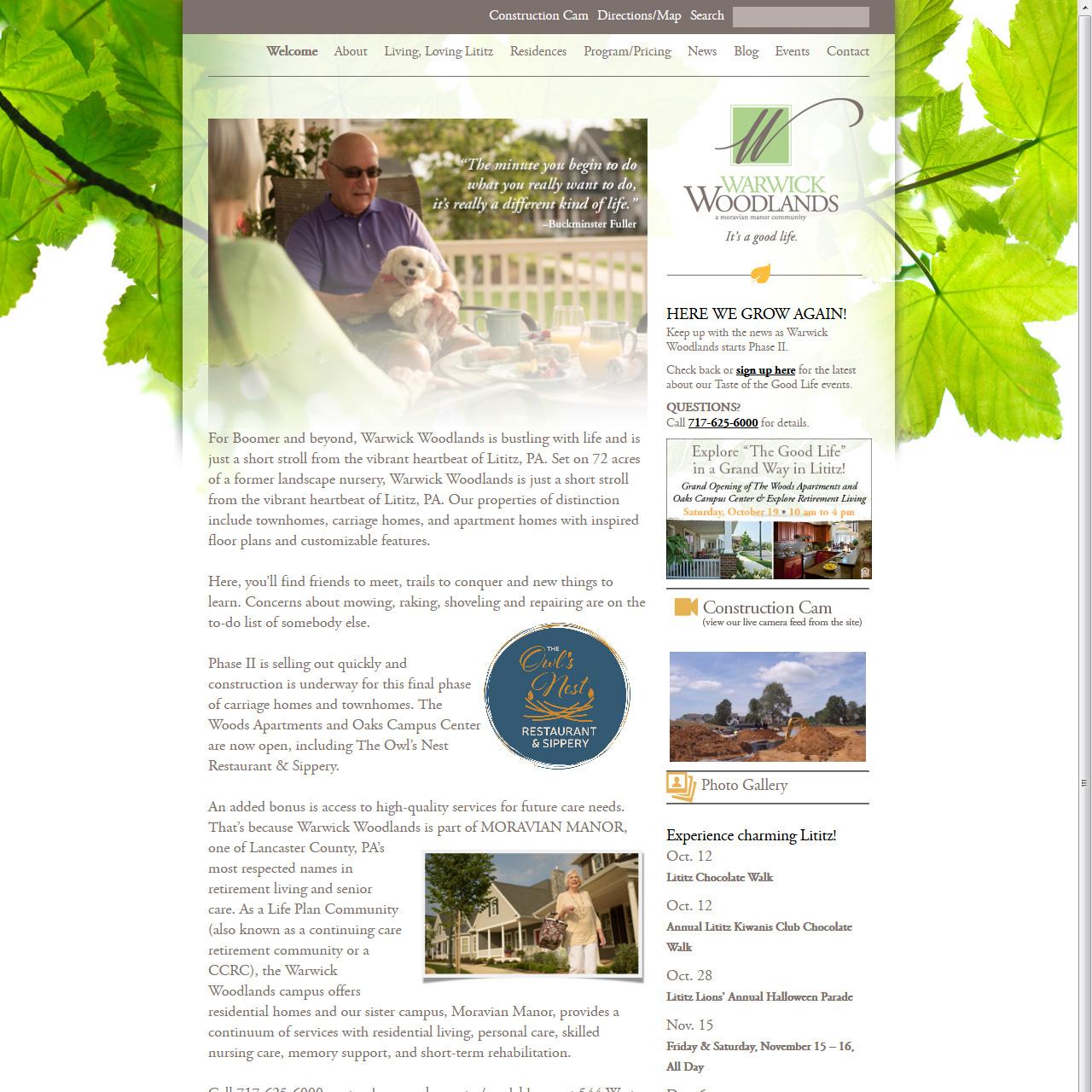 Warwick Woodlands Retirement Community - 55 plus community website design