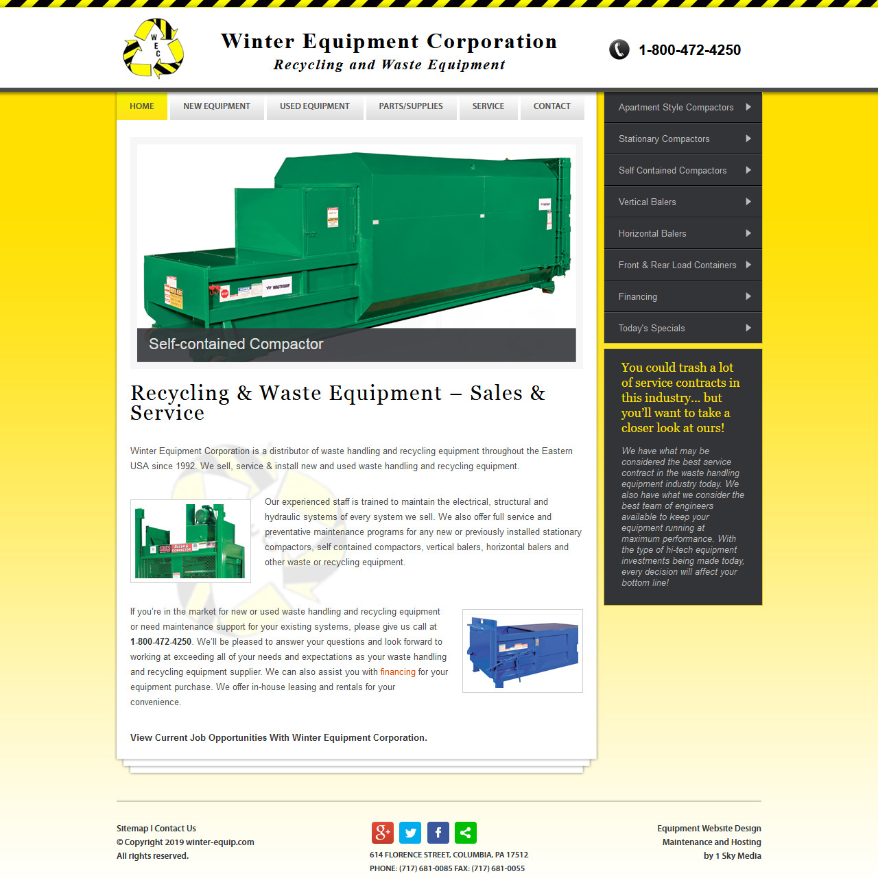 Waste Removal and Recycling Equipment website design