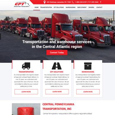 Custom WordPress Theme design for a transportation website.