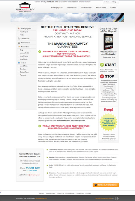 Bankruptcy Law - attorney's website design