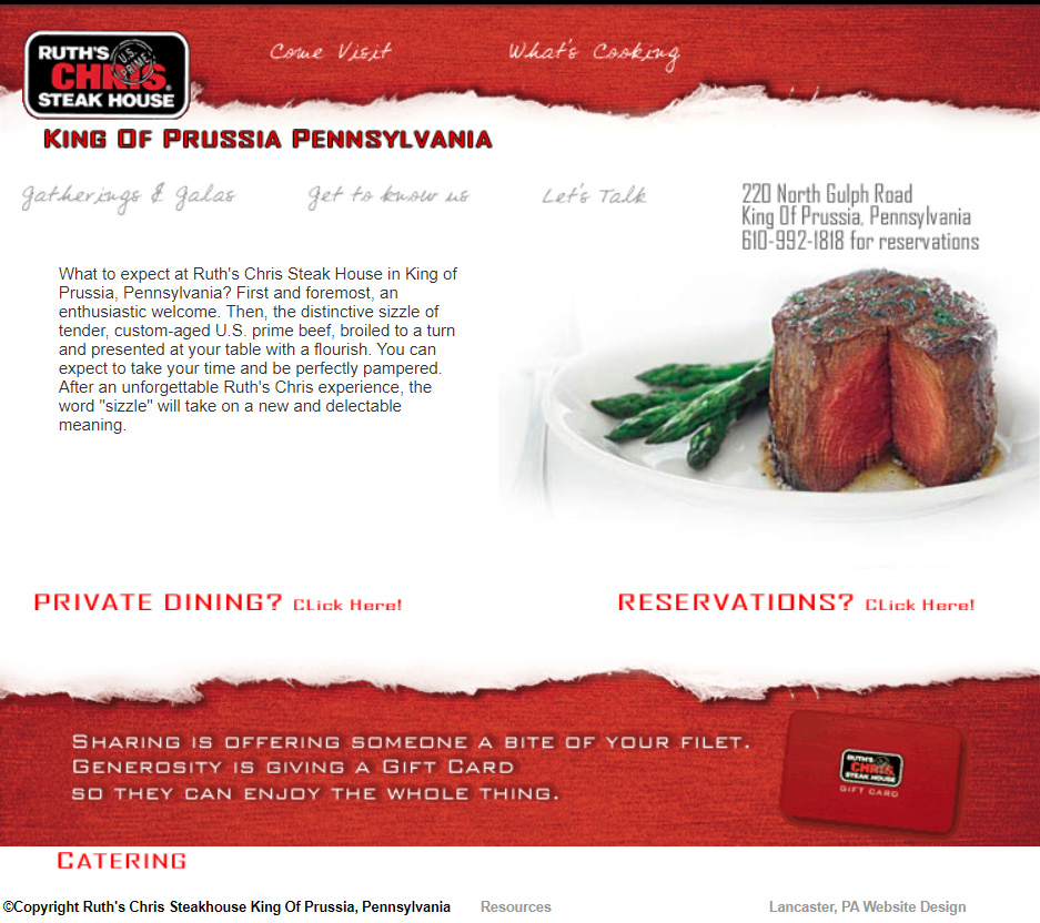Ruth's Chris King Of Prussia - restaurant website design
