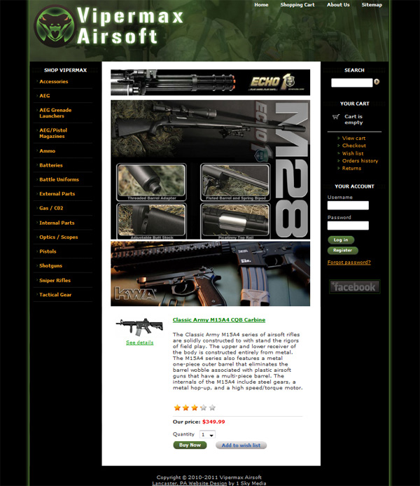 ViperMax Airsoft - airsoft products ecommerce website design