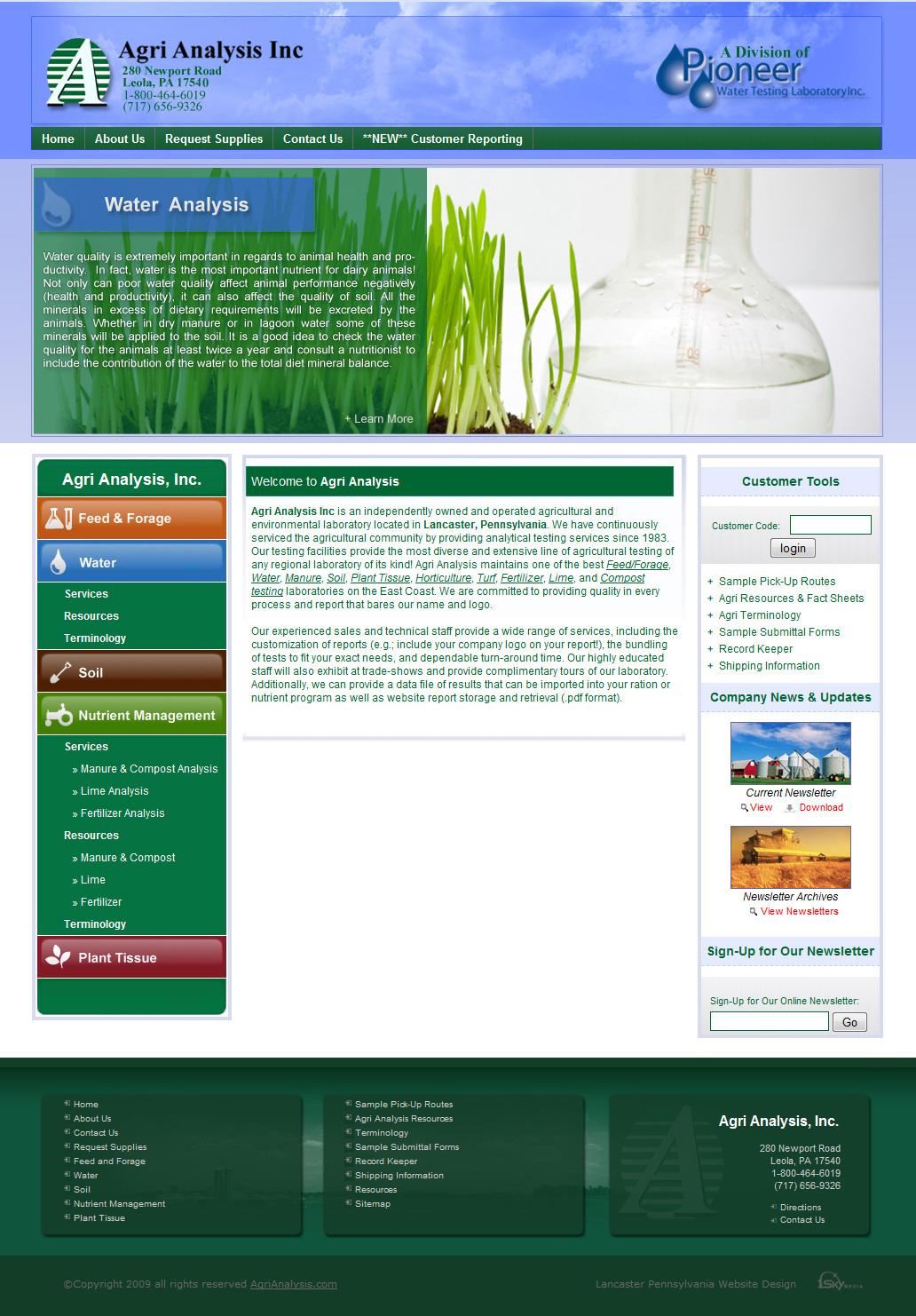 Agri Analysis Inc. -soil analysis company website design