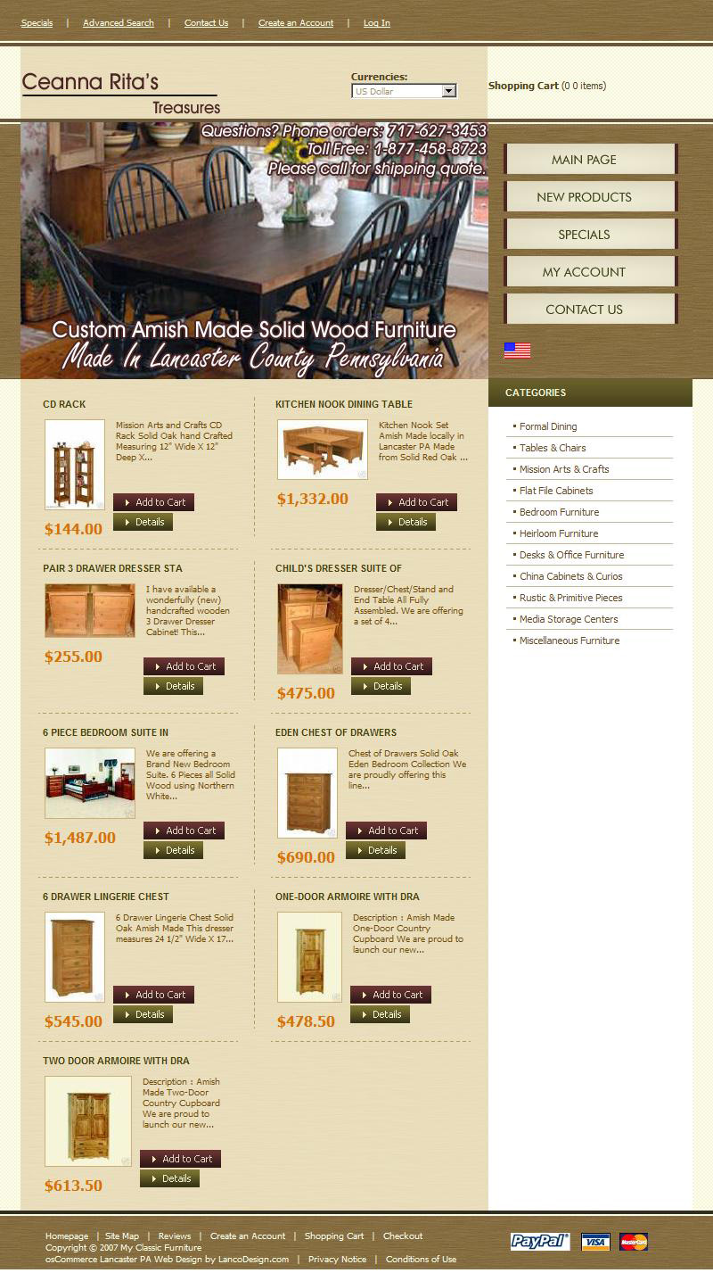 Ceanna Ritas Treasures - gift shop and furniture sales website design