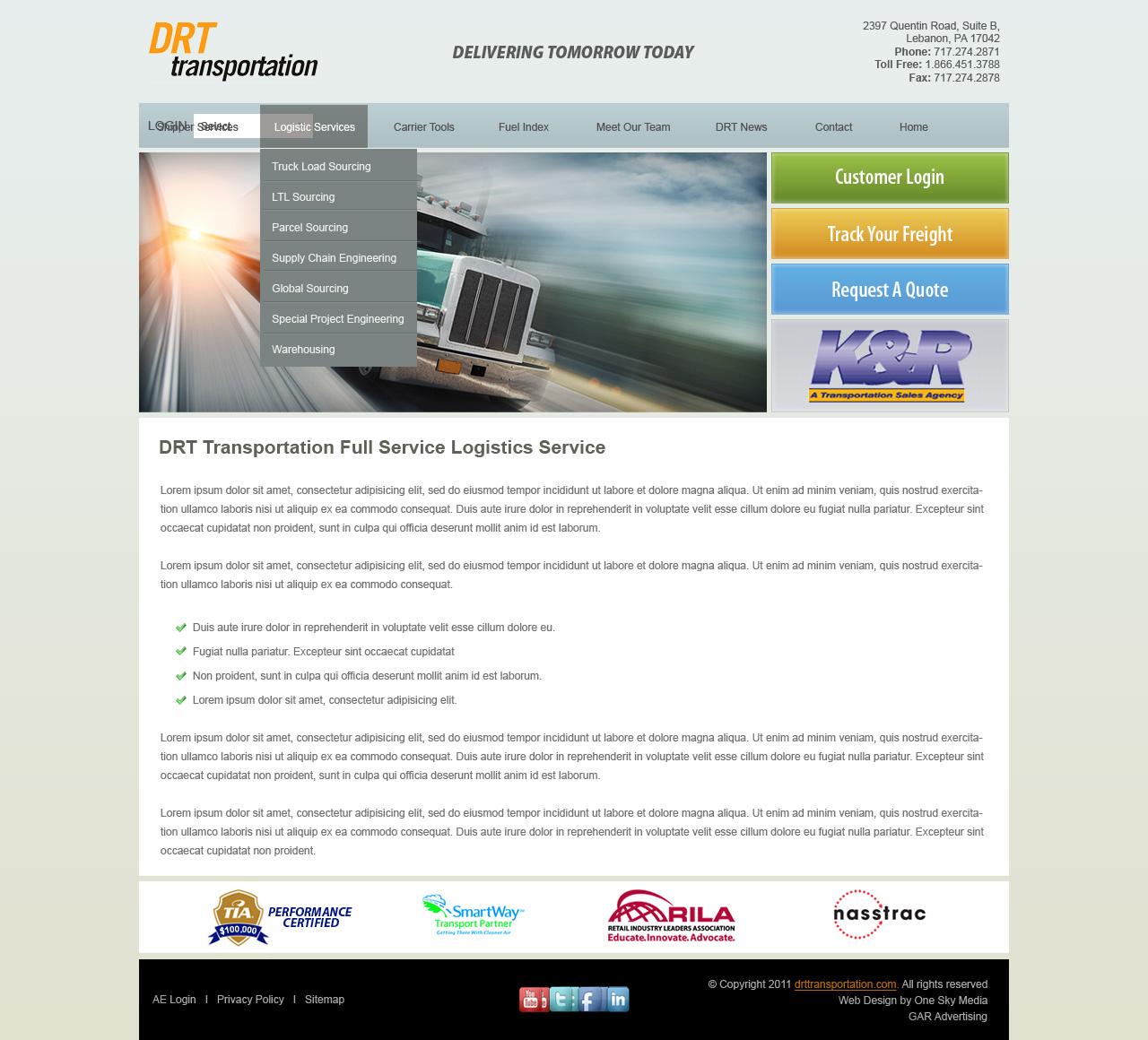 DRT Trucking & Logistics - trucking website design