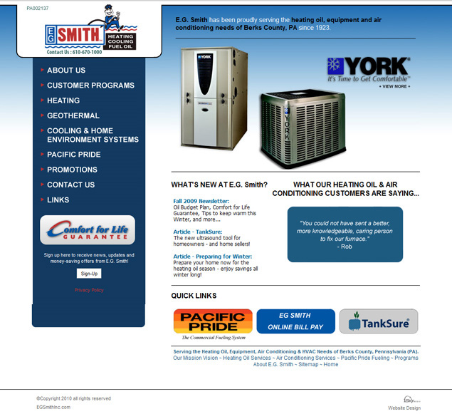 EG Smith Heating Oil Company - Oil & Gas company website design