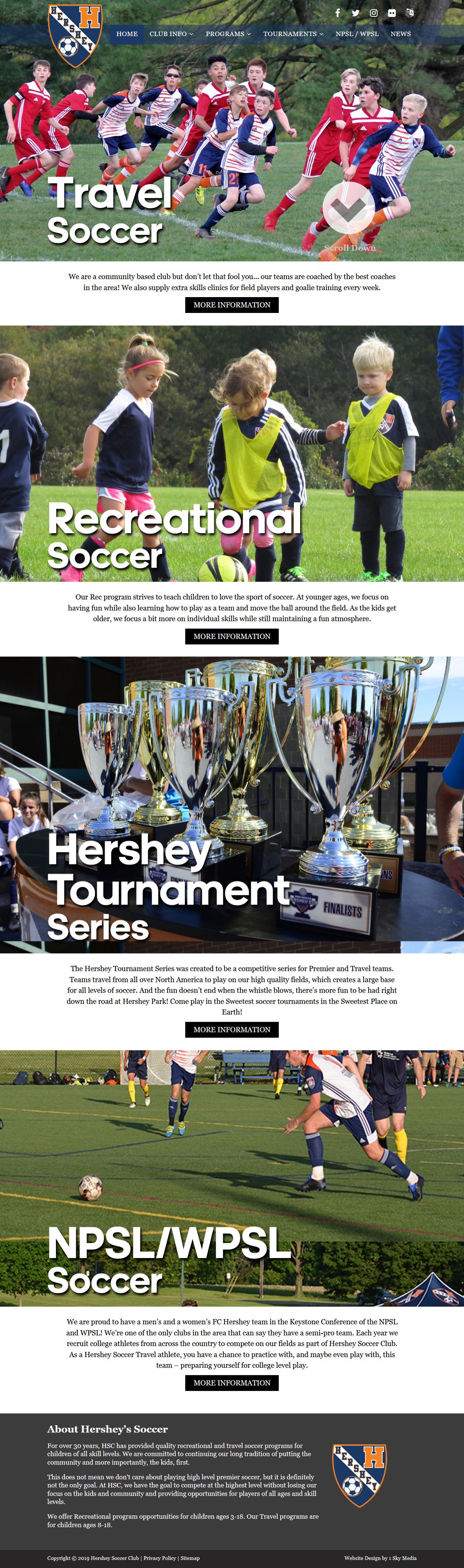 Hershey Soccer Club - soccer club website design