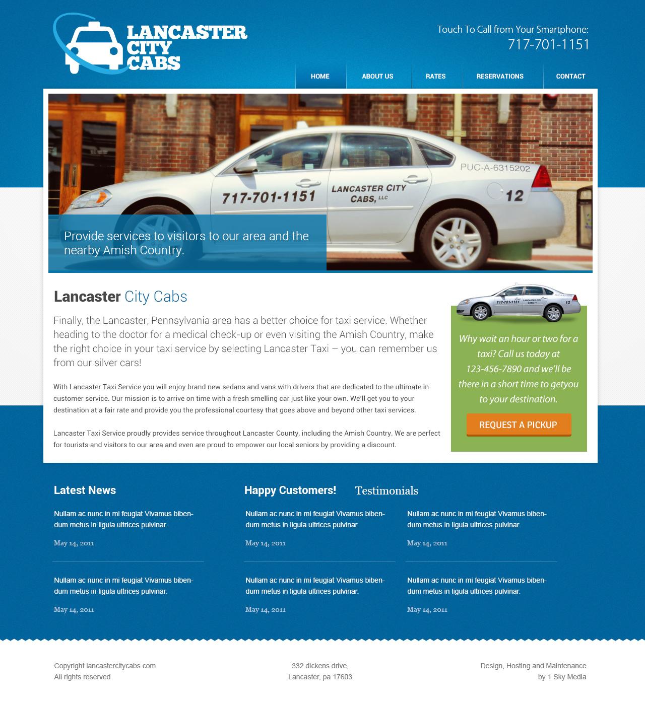 Lancaster City Cabs - cad company website design