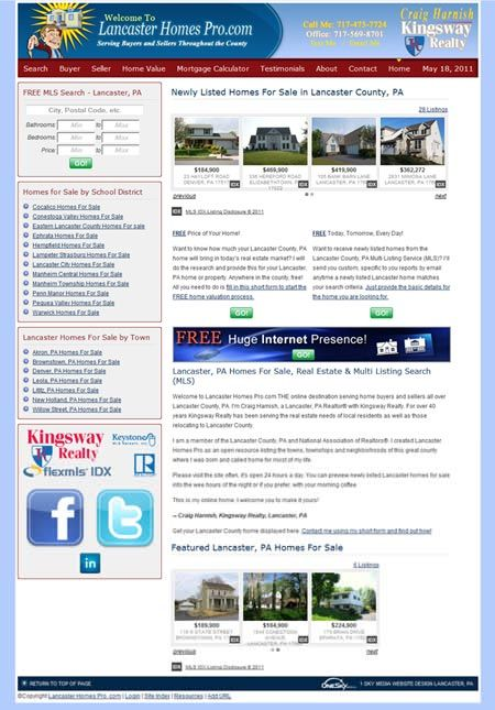 Lancaster Homes Pro - real estate website design