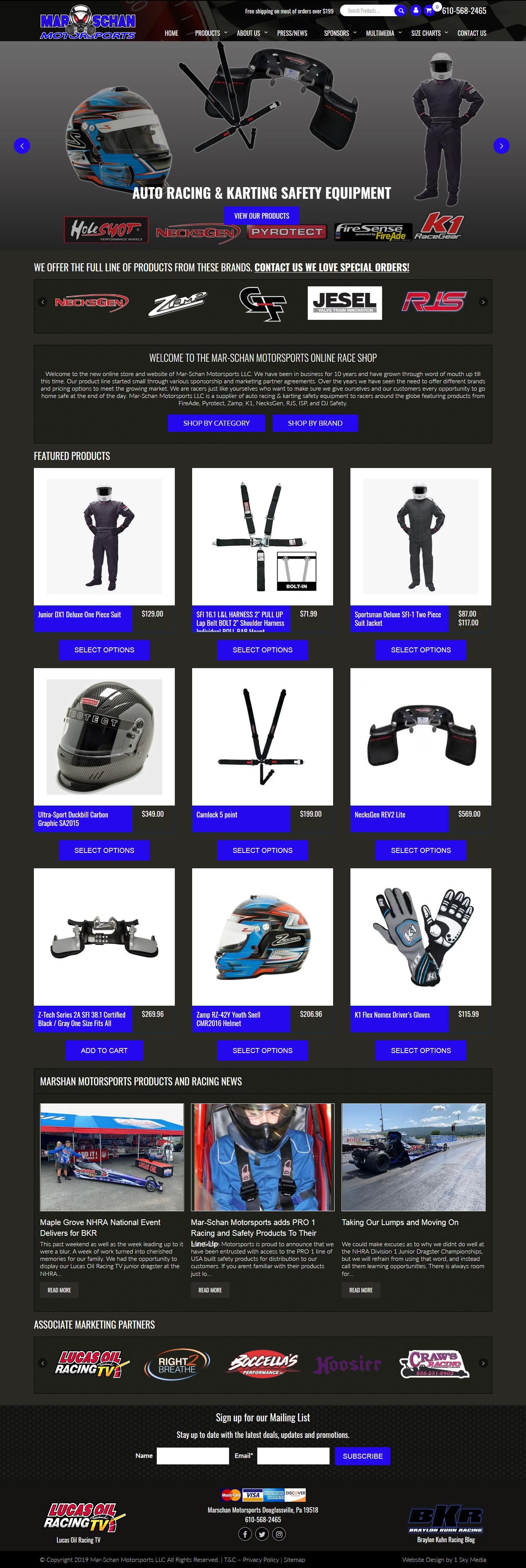 Mar-Schan Motorsports racing safety equipment retailer website design