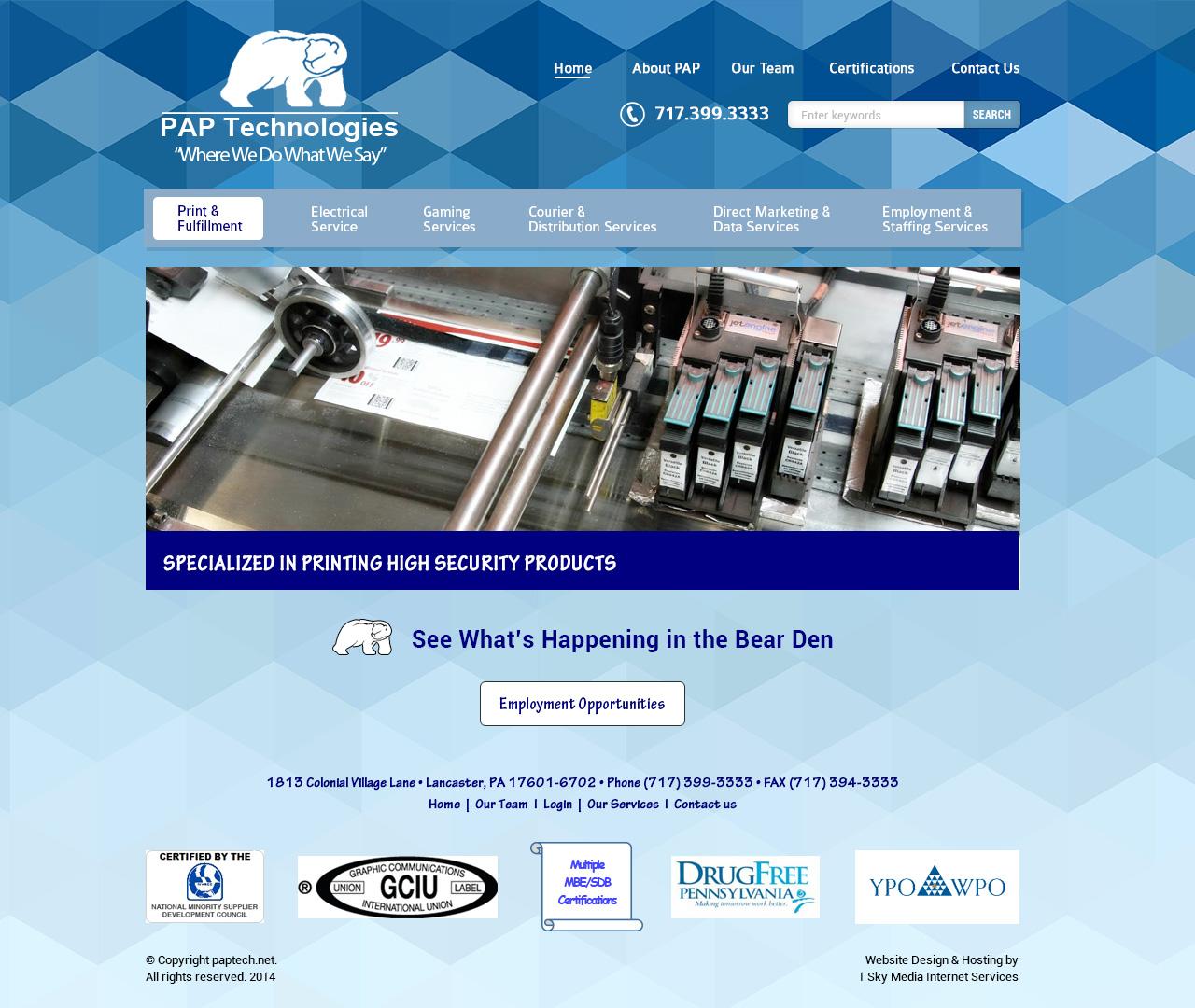 PAP Technologies - printing company website design