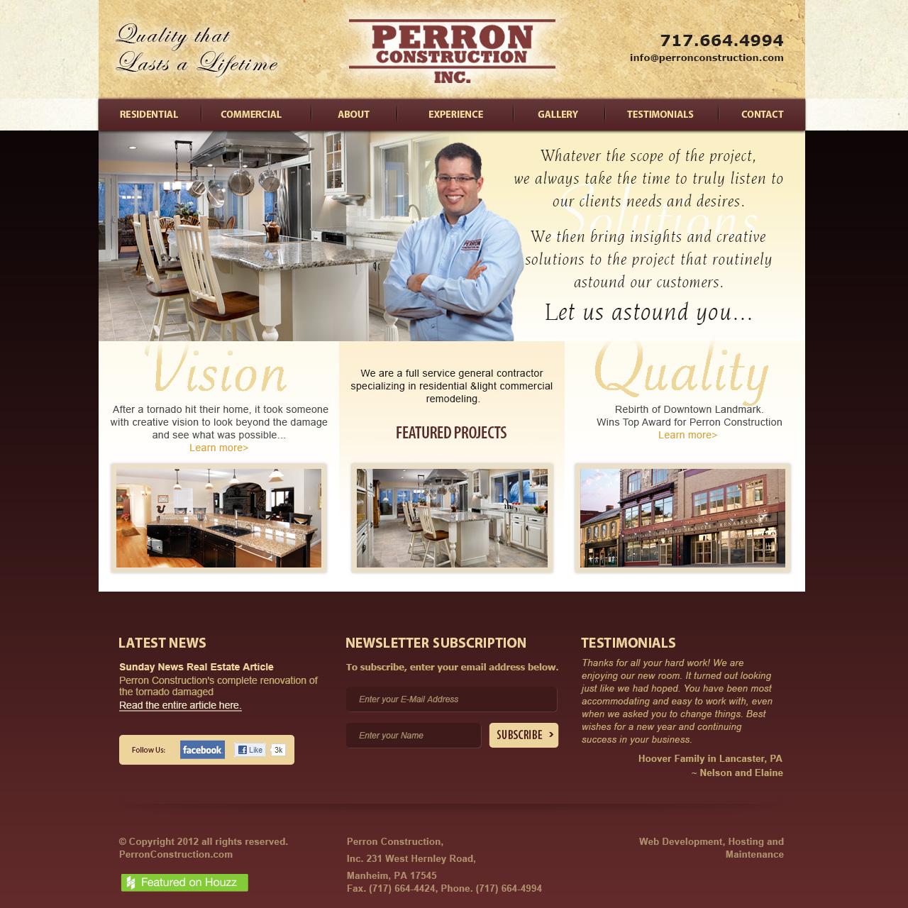 Perron Construction Inc - General construction company website design