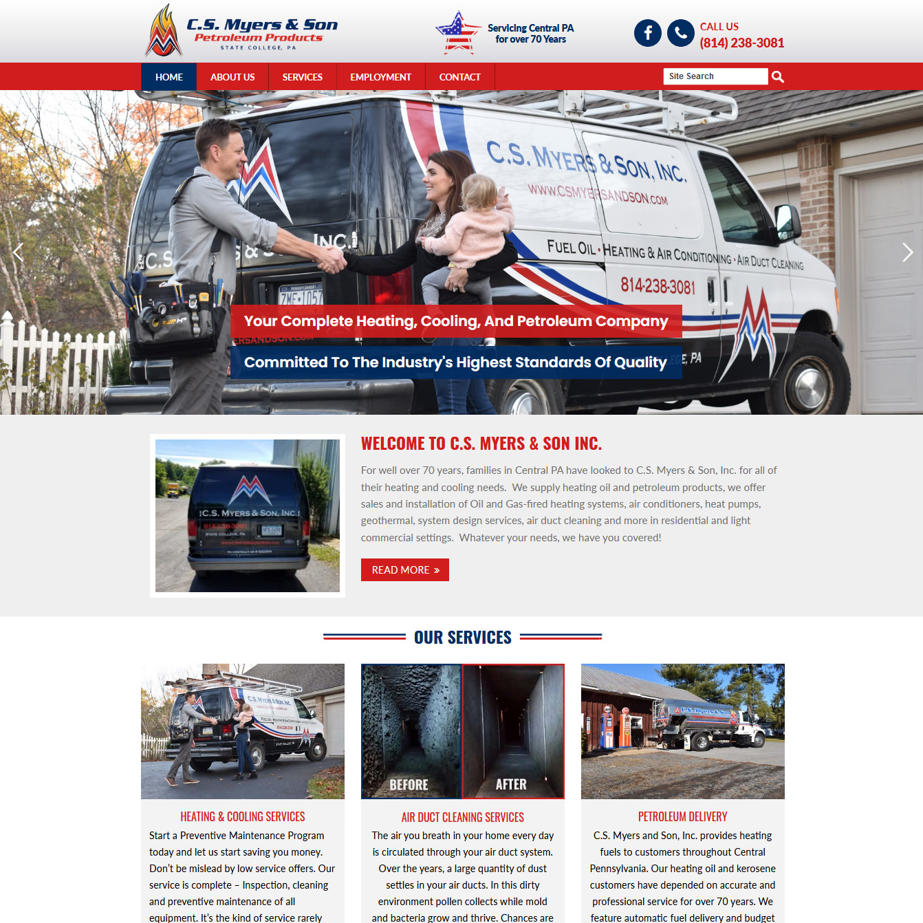 C S Myers & Sons - oil company website design
