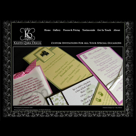 Kristen Quirk Designs - party and wedding invitations website design