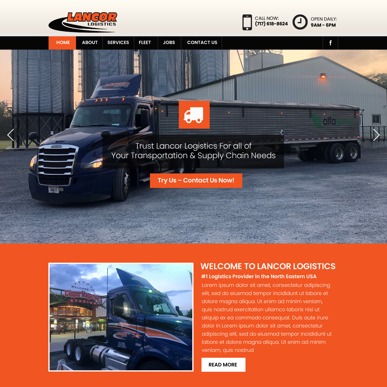 Lancor Logistics - trucking company website design