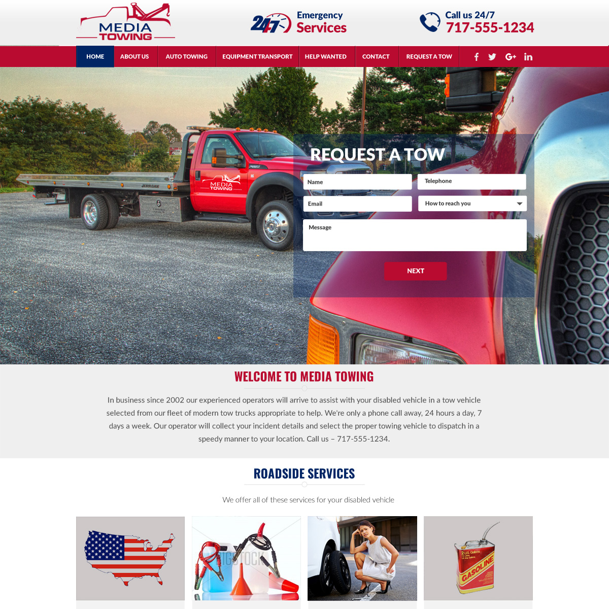 Turn Key Towing Website - inexpensive towing website design