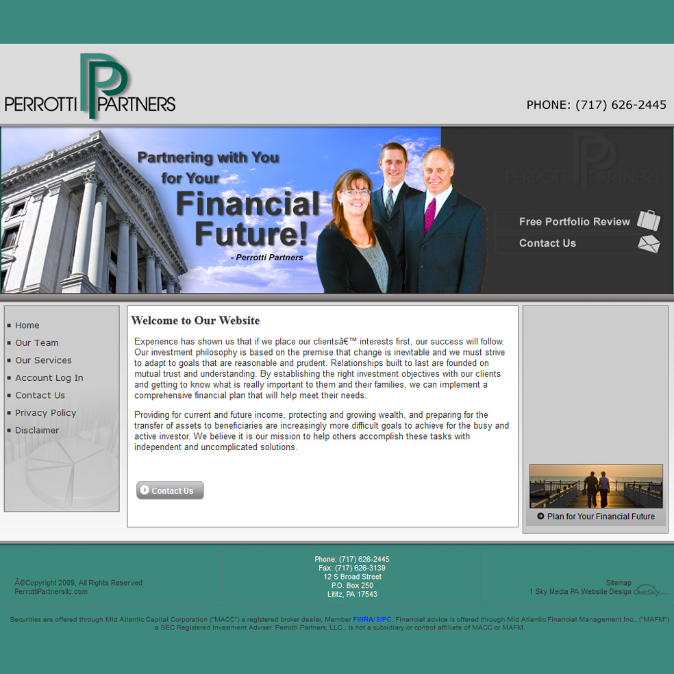 Perrotti Partners LLC - financial advisors website design