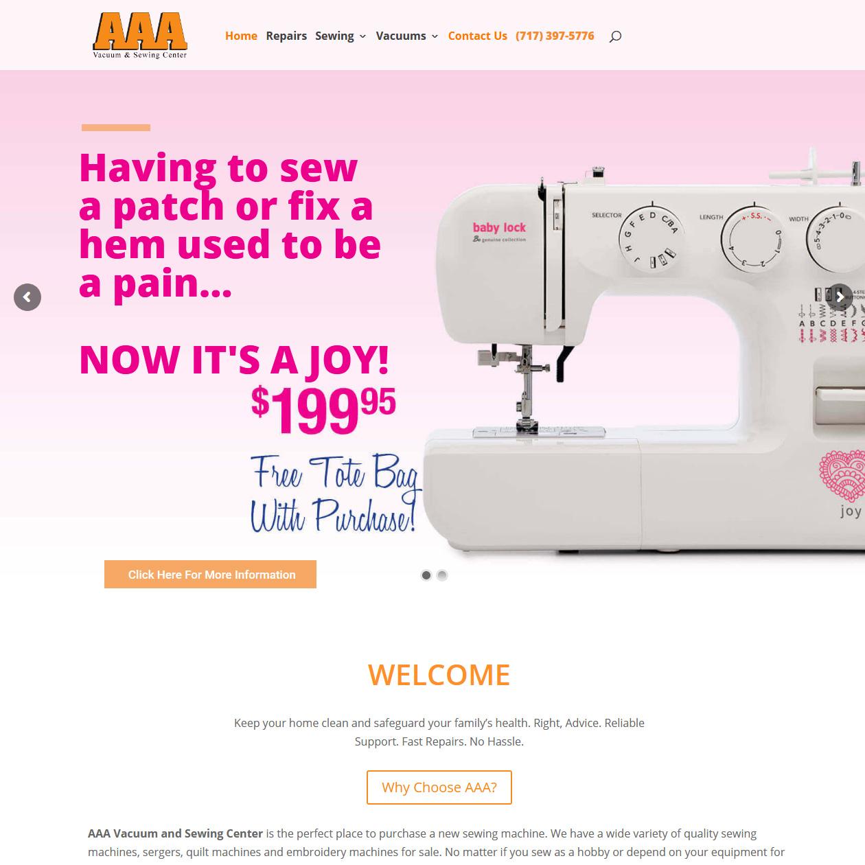 AAA Vacuum & Sewing Center website design