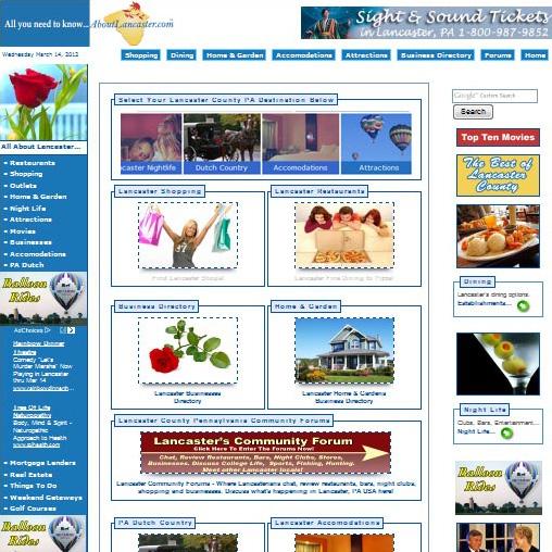 About Lancaster - community & businesses website design