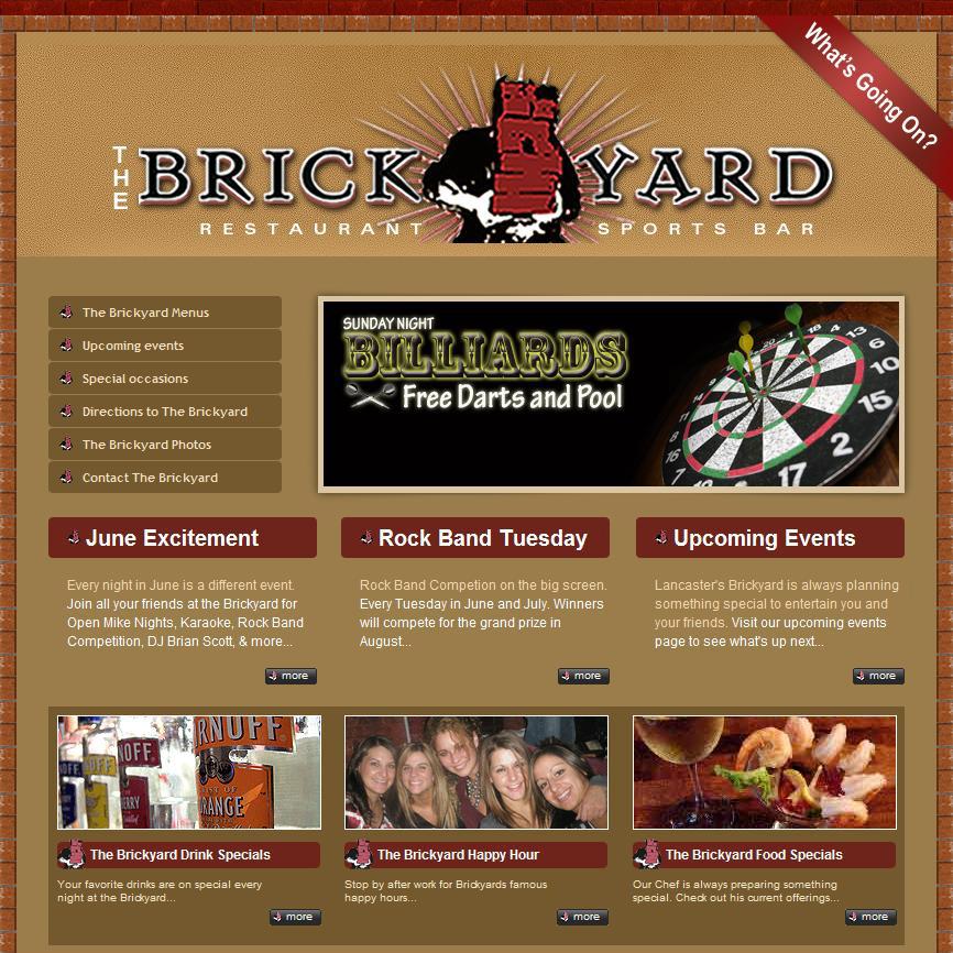 Brickyard Sports Bar & Restaurant - restaurant website design