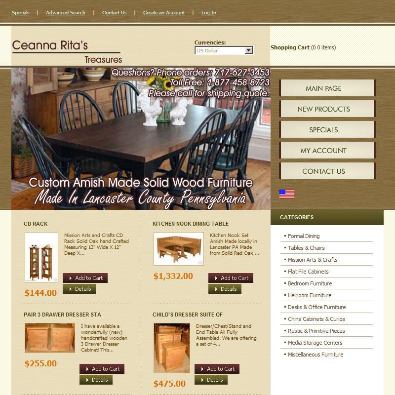 Ceanna Ritas Treasures - gift shop and furniture sales website design