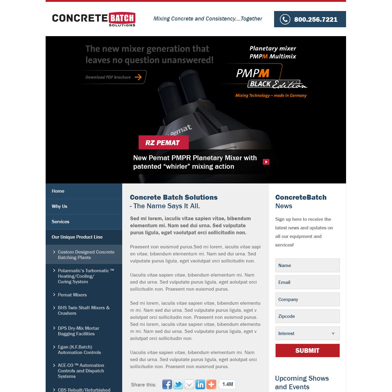 Concrete Batch - concrete manufacturing equipment website design