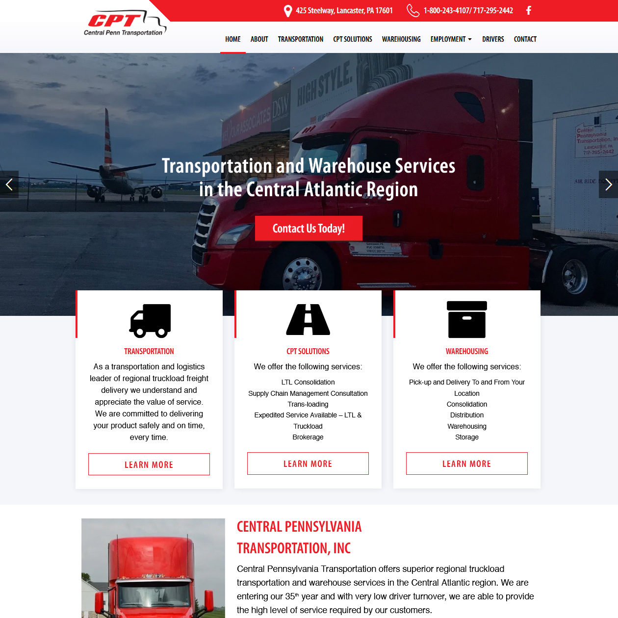 Central Pennsylvania Transportation - trucking website design