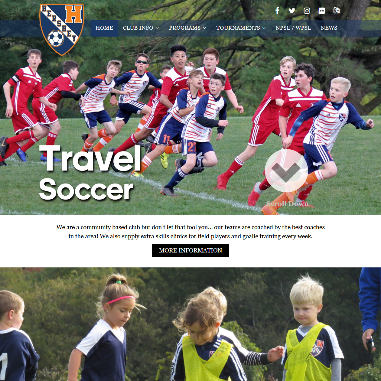Hershey Soccer Club - soccer club website design