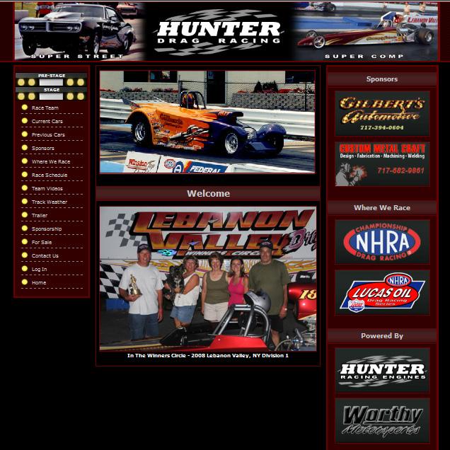 Hunter Drag Racing - racing promotional website design