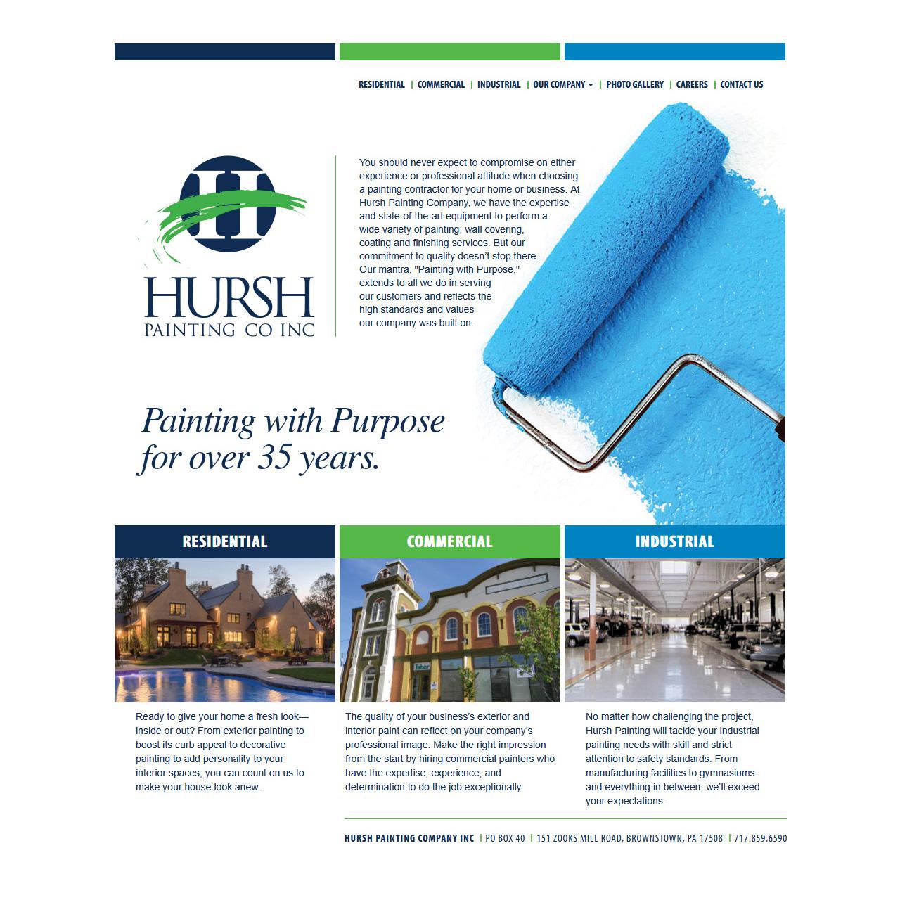 Hursh Painting Company - painting company website design