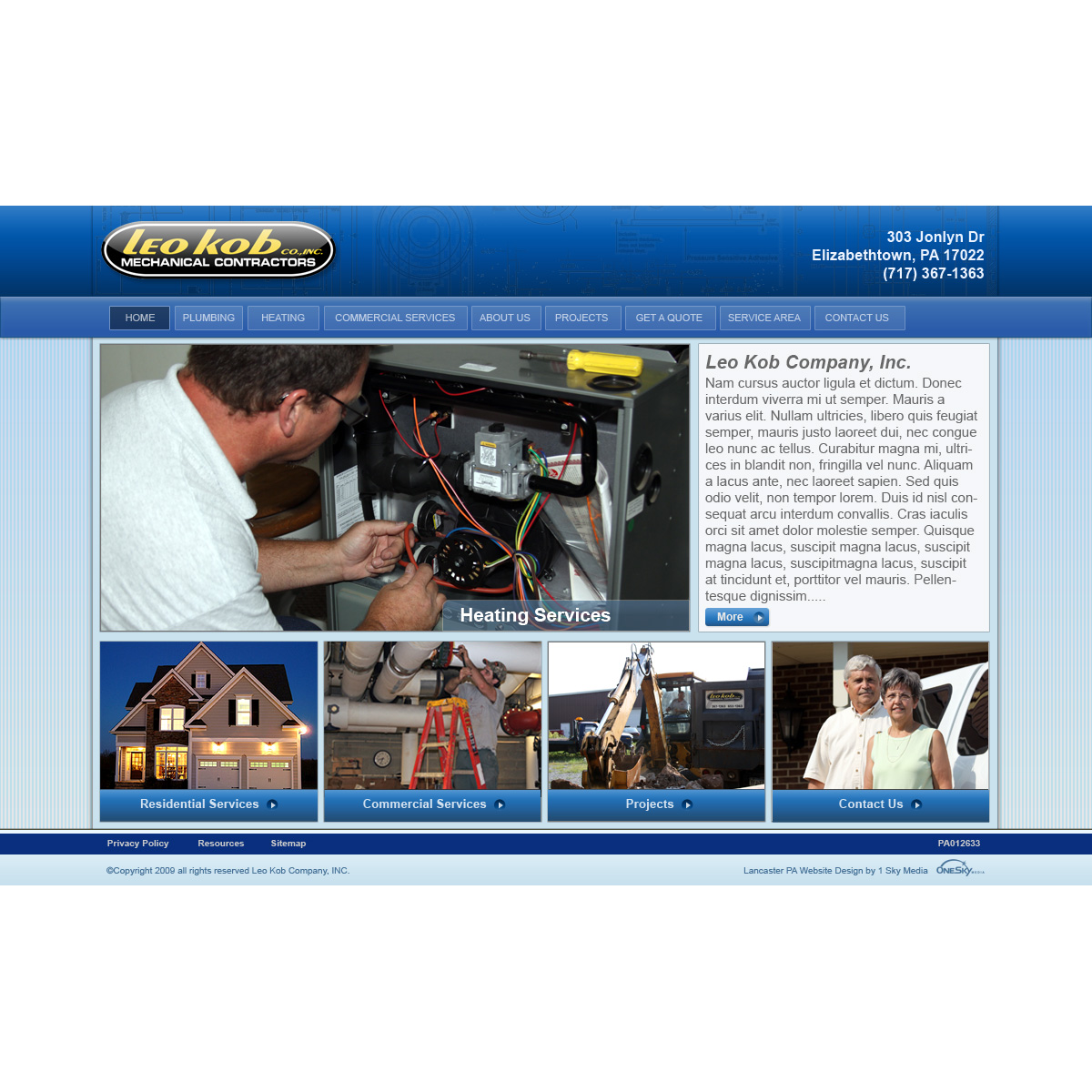 Leo Kob Mechanical Contractors - mechanical contractors website design